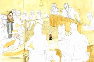 drawing of the ex-girlfriend giving evidence in Court
